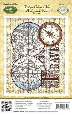 Vintage Collage Map  Background Cling Stamp