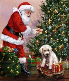 Christmas Tree, Pup and Santa Delivering Packages by Jim  Mitchell