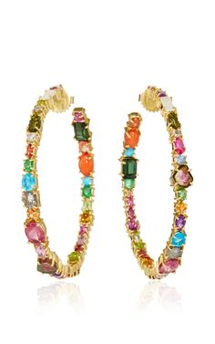Baby Hoop Earrings by SHARON KHAZZAM - 18k yellow gold, diamonds, amethyst, apatite, blue tourmaline, Ceylon sapphires, citrine, coral, emerald, garnet, green tourmaline, moonstone, orange sapphires, peridot, pink sapphires, pink tourmaline, purple sapphires, rhodolite, ruby, tsavorite, turquoise, watermelon tourmaline. (=)
