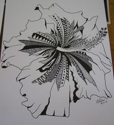 Zentangle of an Hibiscus flower:   Oh, brilliant... look and learn!