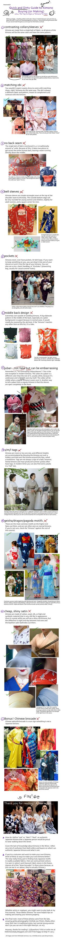 Tutorial: Real or Fake Kimono? by iheartsendai.deviantart.com on @deviantART - Some great tips for anyone who wants to go shopping for a kimono - in other words, how not to get caught in a tourist trap :P: