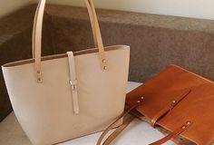 Handmade vintage beige leather normal size tote bag shoulder bag handbag for women