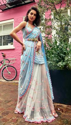 Blue saree with golden and pink details Designer Sarees By Papa Don't Preach Indian Bridal Outfits, Indian Fashion Dresses, Dress Indian Style, Indian Designer Outfits, Designer Dresses, Designer Sarees, Salwar Designs, Saree Blouse Designs, Dr Martens Outfit