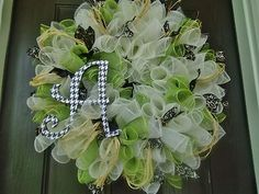 LARGE FALL SUMMER DECO MESH WREATH MOSS GREEN CREAM, RAFFIA, WOOD LETTER