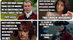 Bahahaha Outlander birthday wishes from each character Outlander Funny, Outlander Quotes, Outlander Tv Series, Sam Heughan Outlander, I Thank You, I Party, Great Movies, Funny Moments, Birthday Wishes