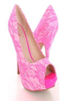 Neon Pink Lace Peep Toe Pump Heels