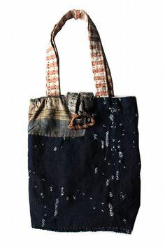Japanese boro patchwork tote bag/indigo boro/ranru noragi/hand…