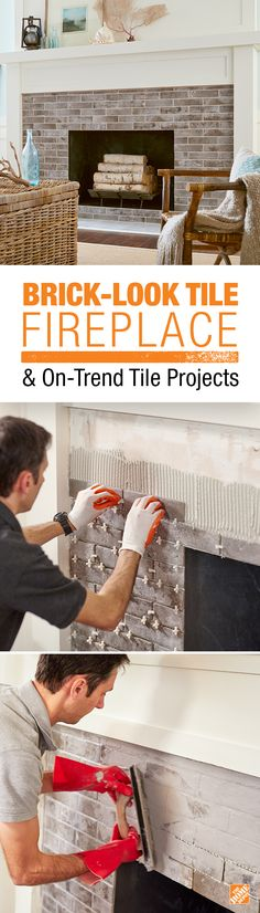 Make a big impact in just a weekend by refacing your fireplace with Abbey Brick tile. Click through for a full video tutorial Make a big impact in just a weekend by refacing your fireplace with Abbey Brick tile. Click through for a full video tutorial Fireplace Update, Farmhouse Fireplace, Home Fireplace, Fireplace Remodel, Fireplace Surrounds, Fireplace Design, Fireplace Ideas, Brick Fireplace, Brick Wall
