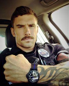 Cops wearing a Wristwatch Mustache Styles, Beard No Mustache, Hot Cops, Hunks Men, Men In Uniform, Cop Uniform, Good Looking Men, Beard Styles, Bearded Men