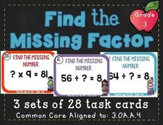 Operations & Algebraic Thinking - Multiplication and Division Task Cards!Common Core aligned to  3.OA.A.4 Determine the unknown whole number in a multiplication or division equation relating three whole numbers.Contents: 3 sets of 28 task cardsAnswer KeysRecording Sheets2 set of Brain breaks!Scoot Instructions and TipsPlease see the animated GIF to know what you'll be purchasing.Happy Scooting!Need other math task cards?Operations & Algebraic Thinking - Multiplication 3rd Grade 3.OA.A...