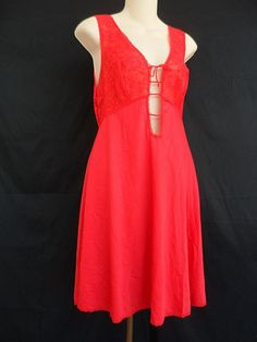 Glydons-Of-Hollywood-Vintage-Lace-Nightgown-Lingerie-Red-Size-Small