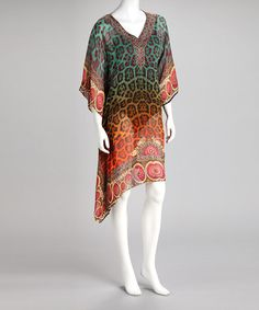 Take a look at this Kristals Blue & Green Jungle Cat Cape-Sleeve  by Kristals