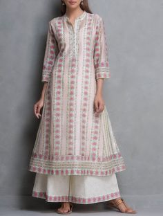 Pink-Beige Kalidar Hand Block Printed & Sequin Embellished Chanderi Kurta with Lining Set of 2 by Kora Kurta Designs Women, Salwar Designs, Blouse Designs, Pakistani Dresses, Indian Dresses, Indian Outfits, Mode Bollywood, Indian Designer Suits, Dress Indian Style