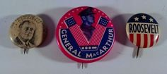 Lot of 3 Franklin Roosevelt and General MacArthur Pins Pinback Political button
