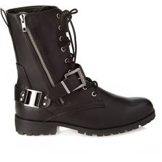 Forever 21 Women's  Lace-Up Buckled Combat Boots (48 RON) ❤ liked on Polyvore featuring shoes, boots, ankle booties, combat boots, ankle boots, buckle ankle boots, military boots, lace up combat boots and short lace up boots