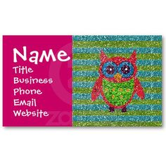 Glitter Owl Pink Teal Green Business Cards