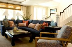 navy sofa sectional with orange accent pillows, woven shades POPPY STREET :: BONESTEEL TROUT HALL
