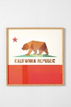 california flag art print //