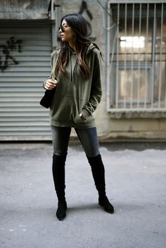 top shop top man green hoodie fall fashion sigerson morrison black suede knee high boots berry tall boot gucci marmont velvet black 2.0 bag not your standard fashion blogger kayla seah