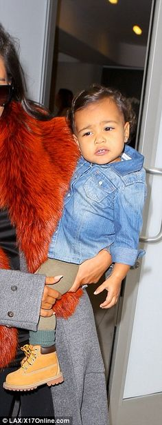 Daddy daughter style: Kanye and North both wore khaki green with denim and Timberland boots