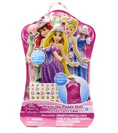 The dolls and fashions store inside the armoire shaped case. The individual fashion pieces include magnets that are pre-applied to the fashions. The fashions have glitter accents and can be inchesworn
