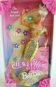 Jewel Hair Mermaid Barbie (1995) - named her Jewel