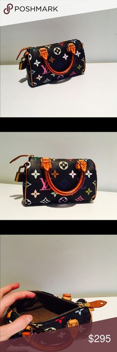 6.25 in Mini Multicolor Sac HL Speedy Black Limited release - collectors item- part of discontinued collection -not available in stores/website - Chic Louis Vuitton Monogram in 33 vibrant colors - small bag with variety of uses - rolled leather handles with gold tone polished brass hardware- Gently Worn Handles - Some wear on brass hardware- No visible wear on body- comes with dust bag and lock no key Louis Vuitton Bags Cosmetic Bags & Cases