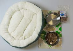 Green Round Fleece Dog Bed with  3 piece Magnetic Bowl and Mat Set and JoJo's all natural Duck Treats - Adog.co  - 1