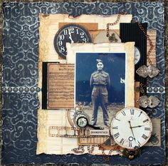 Grandfather ~ Masculine heritage page with a vintage collage background.