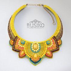 Beaded ethnic bib necklace. Embroidered jewelry slavic style.