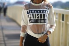 $150 Alexander Wang White Sheer See-Through Patch Parental Advisory Explicit Content Top With Black Logo And Black Pants