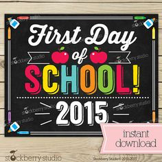 First Day of School Sign Day of School Chalkboard by stockberrystudio Kindergarten Photos, Kindergarten First Day, Kindergarten Graduation, School Grades, 1st Day Of School, Sunday School, Chalkboard Poster, School Chalkboard, Wishes For Baby Cards