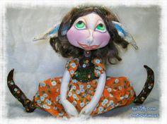 Cloth #Doll Cloth Art Doll #Halloween Doll @CreativeDollsandsuch  #etsy #handmade #etsyseller