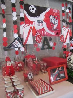 Cumple temático: River Plate Moms 50th Birthday, Soccer Birthday Parties, Soccer Party, Frozen Decorations, Ideas Para Fiestas, Fiesta Party, Childrens Party, Holidays And Events, Fundraising