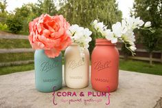 Coral Turquoise Beach Coastal Shabby Chic Painted Mason Jar Wedding Centerpieces Baby Bridal Shower Country Wedding Home Decor Gender Reveal on Etsy, $27.00