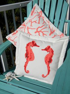 Seahorses in love 20 tangerine coral pillow by crabbychris on Etsy, $41.00
