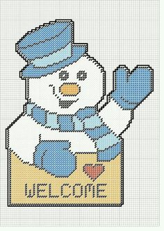 WELCOME SIGN WITH WAVING SNOWMAN by KATHY