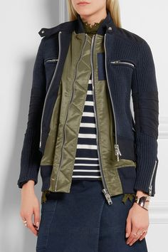 Sacai | Knitted cotton-blend and shell jacket | NET-A-PORTER.COM