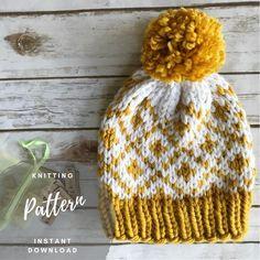 Fair Isle Diamonds Knitting Hat Pattern – Knitting patterns, knitting designs, knitting for beginners. Fair Isle Knitting Patterns, Knit Patterns, Easy Knitting, Knitting For Beginners, Cable Knitting, Tejido Fair Isle, Motifs Beanie, Motif Fair Isle, Fair Isle Chart