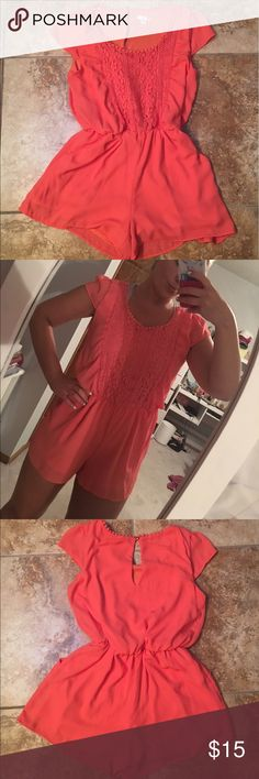 Coral Lace Romper Super cute & summery coral short sleeve romper from target! Size small but fits like a small/medium. In perfect condition I just didn't end up wearing it much. Make an offer Xhilaration Dresses
