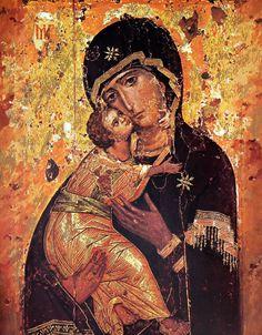 ***Icono Ruso, Virgen de Vladimir, S.XII. Moscú, Galería Tetriakov. La Virgen Glykophilousa es la Virgen de las Caricias o de la Ternura, el Niño acaricia a su Madre que muestra un semblante triste.