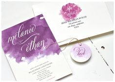 Purple Wedding Invitations by Smitten on Paper.  I like the watercolor/ombré illustration