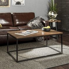 WE Furniture Modern Wood Open Rectangle Coffee Accent Table Living Room, 42 Inch, Walnut Brown Decorating Coffee Tables, Coffee Table Design, Coffee Table Metal Frame, Marble Top Coffee Table, Modern Coffee Tables, Wood Bar Stools, Counter Height Dining Sets, Modern Furniture, Gold Furniture