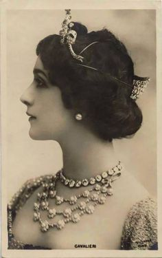 Lina Cavalieri was a turn of the century Italian opera soprano singer, actress, and monologist.She is noted for her grace and beauty.