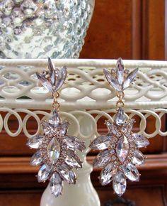 NEW Glass Crystal Statement Chandelier Pierced Earrings Wedding Party Dress US #DropDangleChandelier