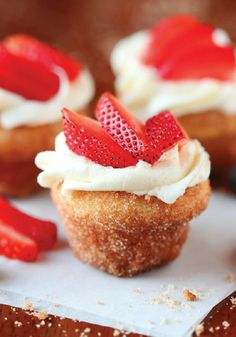 Mmm. You'll love these strawberry shortcake donuts for dessert!