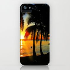 Sunset on Exotic Beach in Martinique iPhone Case by Bluedarkat Lem - $35.00