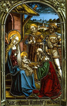 Circle of the Strassburger Werkstattgemeinschaft  Adoration of The Magi  Germany (Munich) (1507)  Pot metal and colorless glass, vitreous paint, and silver stain  28 ½ x 18 x 3/8 in. (72.4 x 45.7 x 1 cm)