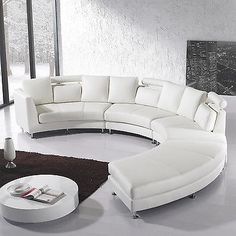 Superior Leather Round Sofa 7 Seater Couch Off   White Living Room Settee Curved