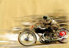 """Via: lambiek """" Denis Sire met Frank Margerin during his art studies in Paris. Together, they formed the band Los Crados. Motorcycle Posters, Motorcycle Art, Bike Art, Motorcycle Memes, Art Moto, E Motor, Art Et Illustration, Car Drawings, Automotive Art"""